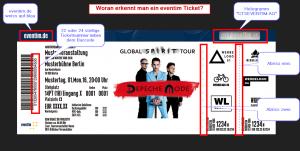 Bild der Sicherheitsmerkmale eines Eventim Tickets.
